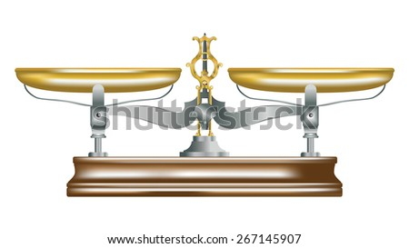 isolated illustration of vintage metal table scales