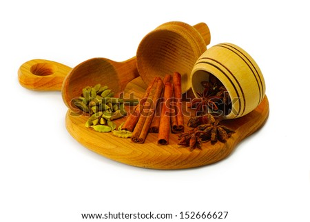 Isolated image of spices in a wooden bowl on a white background