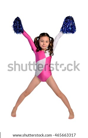 isolated little cheerleader girl happiness