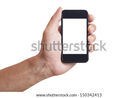 isolated man hand holding the phone tablet touch computer