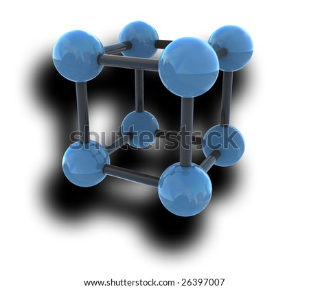 isolated molecule with shadow on white background