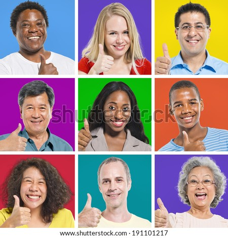 Isolated Multi-Ethnic People Thumbs Up and Smiling