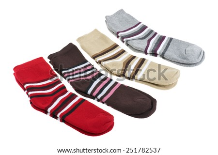 isolated object on white - knitted socks