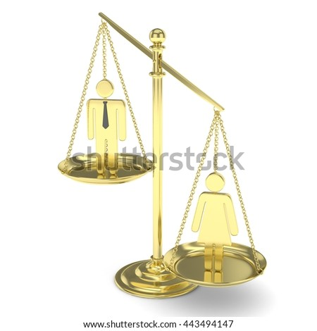 Isolated old fashioned golden pan scale with man and woman on white background. Gender inequality. Equality of sexes. Law issues. Silver model. 3D rendering.