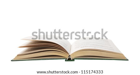 Isolated opened book with yellow pages