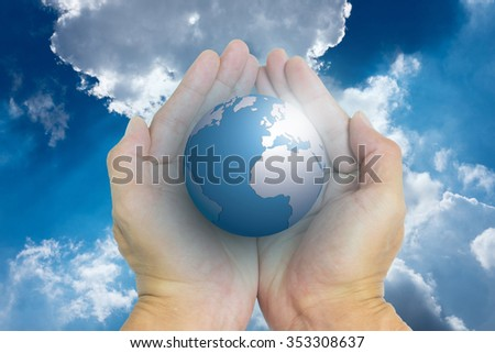 Isolated opened hands and the world and cloudy sky in background