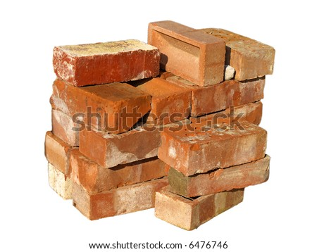 Isolated pile of builders bricks