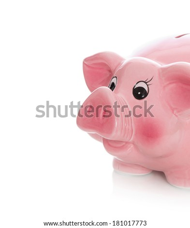 Isolated pink piggy bank on white background.