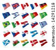 Isolated raster version of vector set of world flags 1 (contain the Clipping Path of all objects) - stock photo