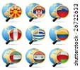 Isolated raster version of vector zoom world flag icons with a globe (contain the Clipping Path of all objects) - stock vector