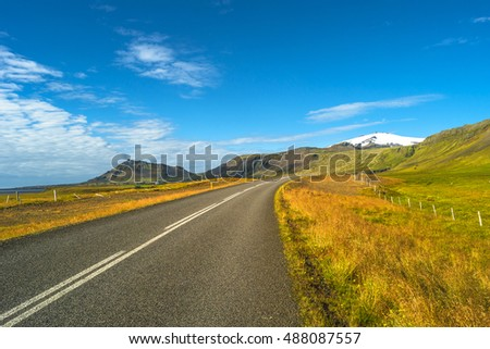Isolated road and Icelandic colorful landscape at Iceland, summer, 2016