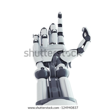 Isolated robotic arm on white background