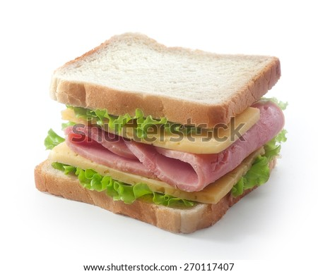 Isolated sandwich with cheese and ham on the white
