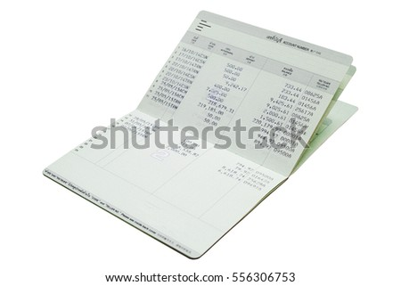 Isolated saving account passbook. bank account passbook . (View with copy space)