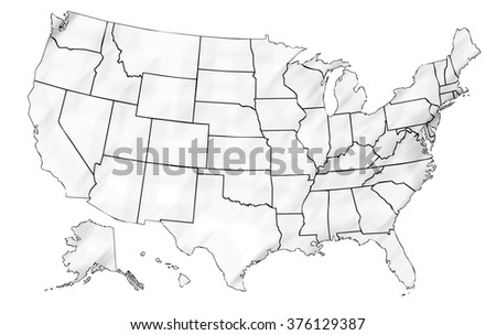 United States Map High Detailed Border Stock Vector - Us map sketch