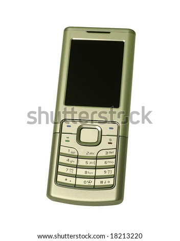 Isolated silver mobile phone on white.