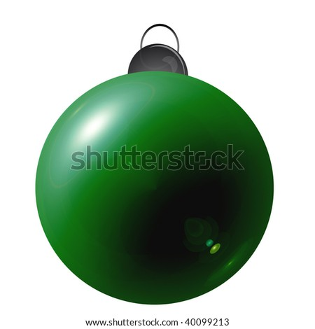 Isolated simple green christmas ball