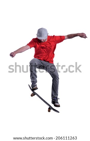 isolated skateboarder in red t-shirt on white background