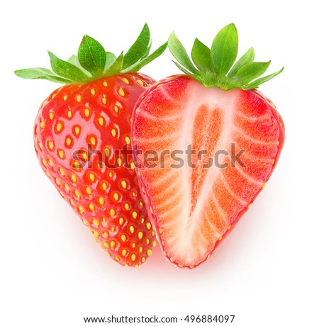 Isolated strawberries. One and a half strawberry fruits isolated on white background with clipping path