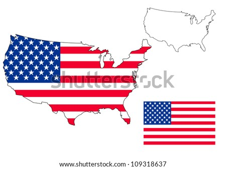 isolated us map with the flag