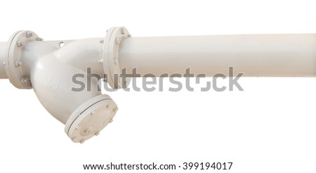 isolated white pipe on white background with clipping path