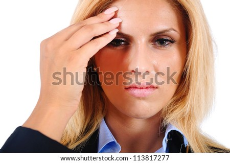 Isolated young business woman headache