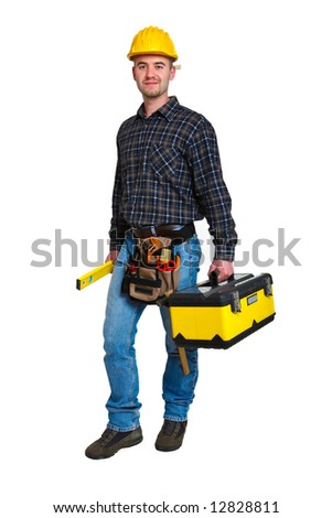 Isolated young worker with tools 11