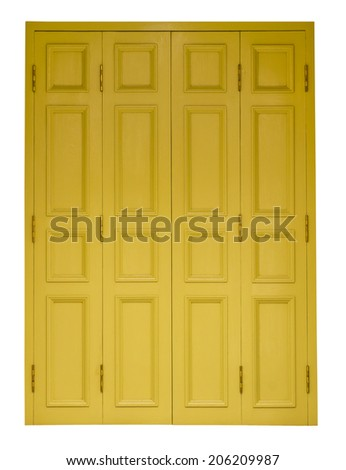 Isolates yellow antique wooden doors on all four channels off nicely.