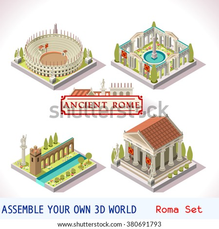 Isometric building ancient rome tile online stock vector for Build your own barn online