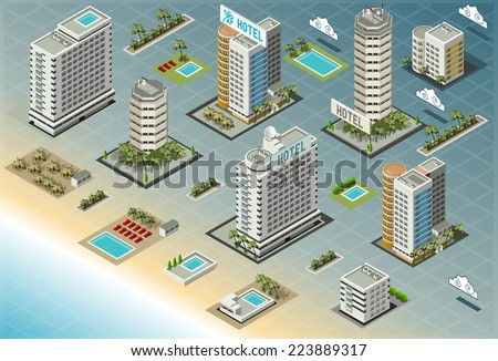 Cityscape design elements isometric building city stock for 3d house building games online