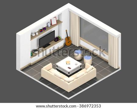 isometric 3d livingroom