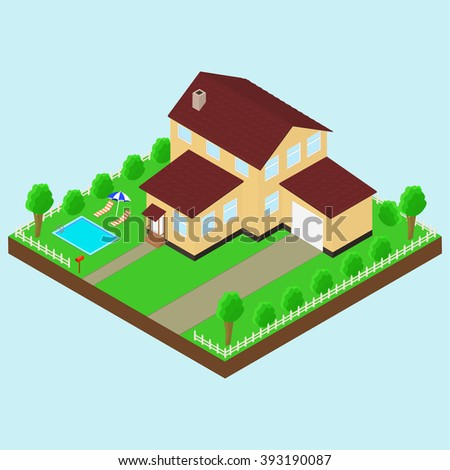 Isometric house 3D icon. Pictograms house with a mailbox, trees, bushes, garage, pool, parasol, sun lounger.