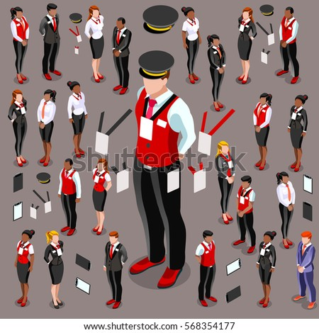 Isometric Male Female Person Staff Isolated Meeting Infographic 3D Icon Set