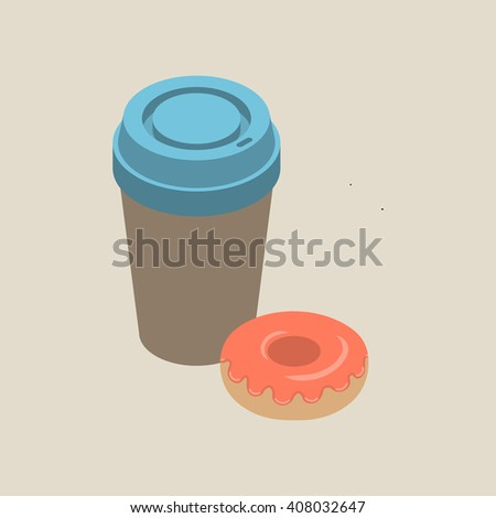 Isometric paper cup of coffee with blue cap and pink glazed donut isolated on beige background