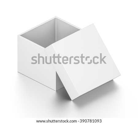 Isometric white open cube blank box with cover isolated on white background.