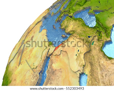Israel highlighted in red with surrounding region. 3D illustration with highly detailed realistic planet surface and reflective ocean waters. Elements of this image furnished by NASA.