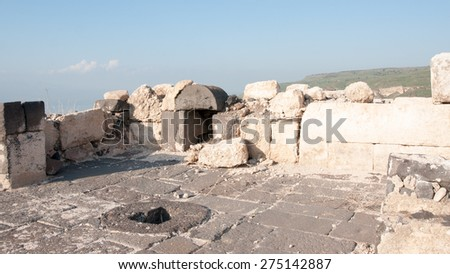 Israeli national park with anchient ruins and  archaeological excavation