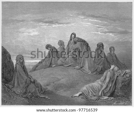 Israelite women mourn with Jephthah`s daughter - Picture from The Holy Scriptures, Old and New Testaments books collection published in 1885, Stuttgart-Germany. Drawings by Gustave Dore.