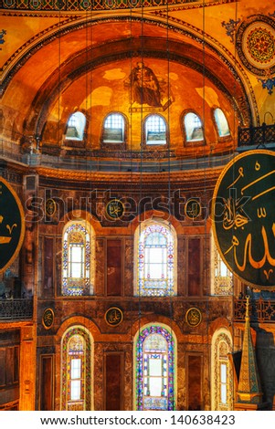 ISTANBUL - APRIL 9: Interior of Hagia Sophia in Istanbul on April 09, 2013. Hagia Sophia is a former Orthodox patriarchal basilica (church), later a mosque, and now a museum.