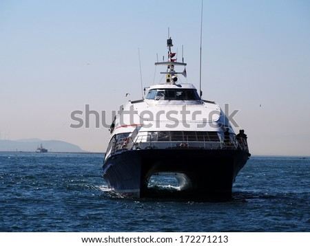 ISTANBUL - APRIL 23, 2013: luxury yacht in the Marmara Sea