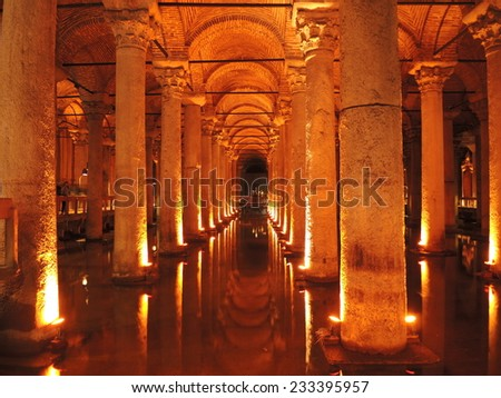 ISTANBUL - APRIL 9: View of the Basilica Cistern, on April 9, 2014 in Istanbul, Turkey.