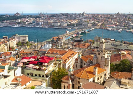 Istanbul Galata Bridge and Goldenhorn view from above