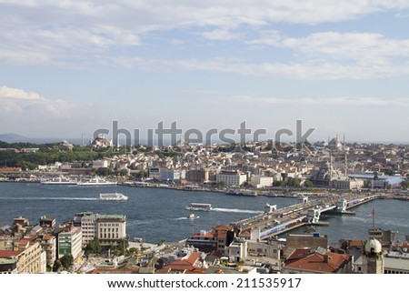 ISTANBUL - JULY 4: View from Galata tower to the European and Asian parts of Istanbul on July 4, 2014 in Istanbul.