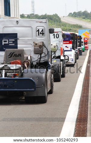 ISTANBUL - MAY 12: Jean-Pierre Blaise of Renault BJP Racing team and other drivers at pit lane of 2012 FIA European Truck Racing Championship, Istanbul Park on May 12, 2012 in Istanbul, Turkey.