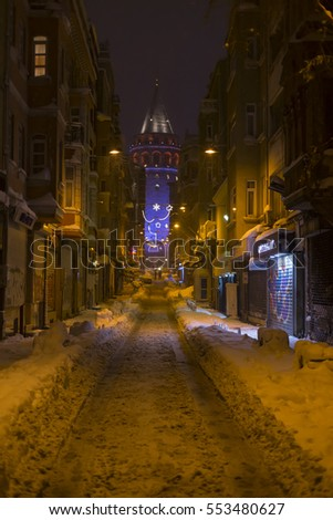 ISTANBUL - TAKSIM; 11 JANUARY 2017, Galata Tower night and winter.