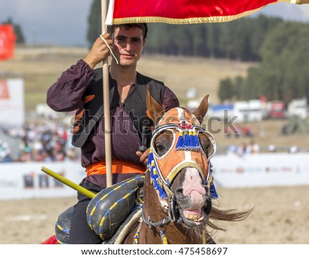 ISTANBUL, TURKEY - August 27, 2016: Etnospor Cultural Festival is about old ottoman turkish cultural activites riding horse from Bezirganbahce Area Kucukcekmece, Istanbul, Turkey.