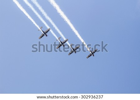 Istanbul, Turkey, August 1, 2015: Italian aerobatic group Team Pioneer performing their special Show at TATCA Fest.