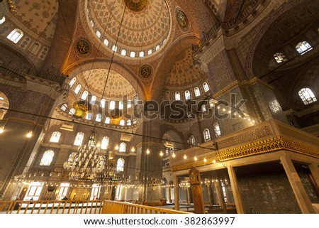 ISTANBUL,TURKEY - DEC 30 : Interior of Yeni Mosque (New Mosque) on Dec 30,2015 in Istanbul,Turkey. Yeni Mosque is located in the Eminonu quarter, it was built in 1597-1663 and inaugurated in 1665.
