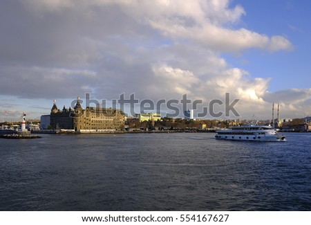 Istanbul,Turkey - 17 December 2016 :Haydarpasa train station and ferry
