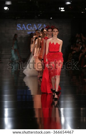 ISTANBUL, TURKEY - JANUARY 14, 2016: A model showcases one of the latest creations of Sagaza Madrid, Profundo Del Mar collection during Fashionist Fair.